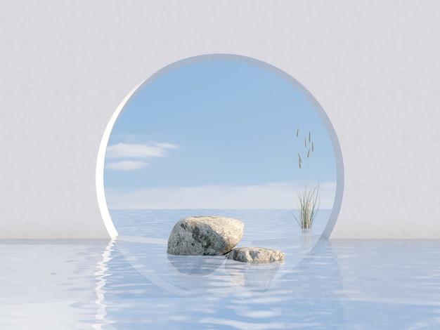 돌과 꽃 잔디와 자연의 아름다움 연단 배경