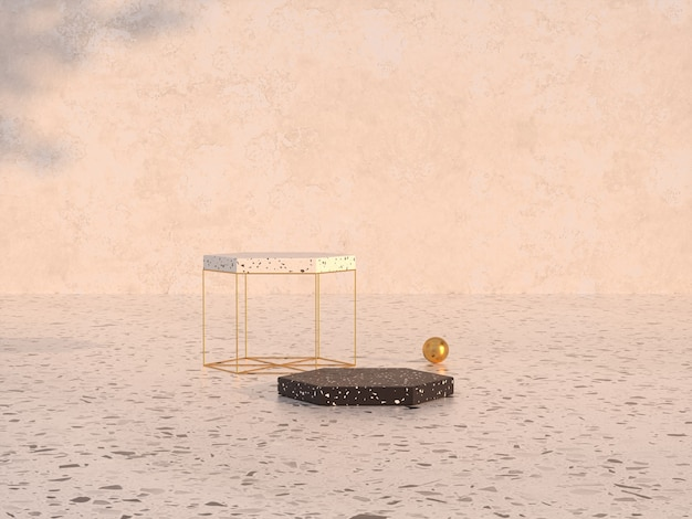 Natural beauty podium backdrop with terrazzo and golden textured 3d rendering