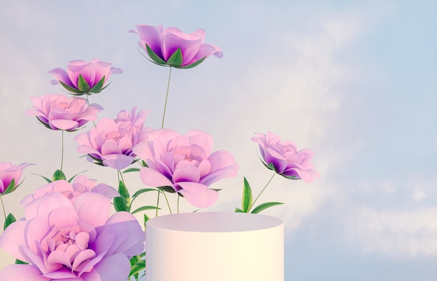 Natural beauty podium for product display with pink rose flower. 3d render.