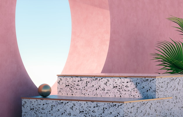 Natural beauty podium for product display with terrazzo