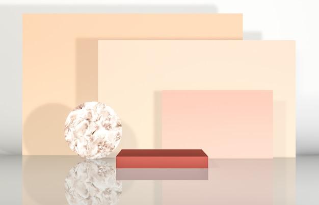 製品展示用の幾何学的形状を備えた自然美の表彰台。抽象的な3 dコンポジションの背景。