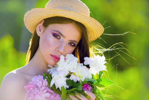 Natural beauty and spa therapy. face and skincare. travel in summer. summer girl with long hair. spring woman. springtime and vacation. woman with fashion makeup. lifestyle and travel concept.