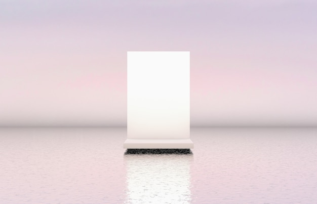 Natural beauty white podium backdrop for cosmetic product display.