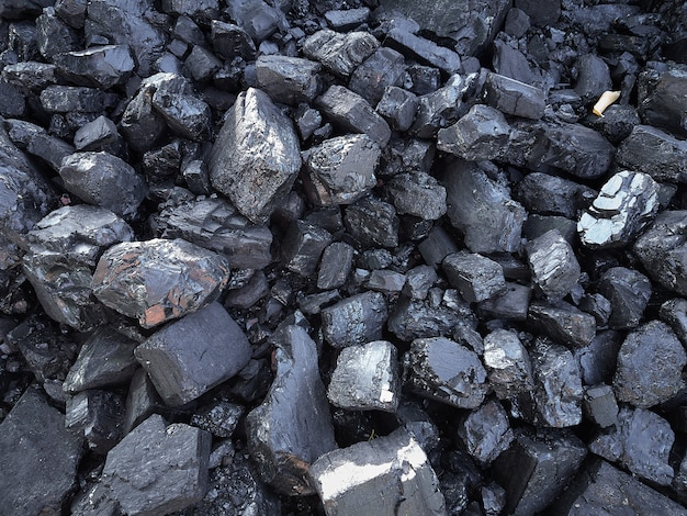 Natural black coals for background. industrial coals
