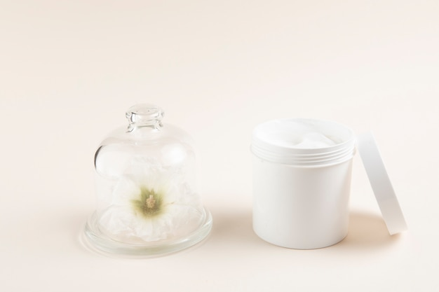 Natural body butter layout with plain background