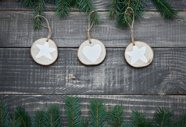 Natural christmas decorations on wood