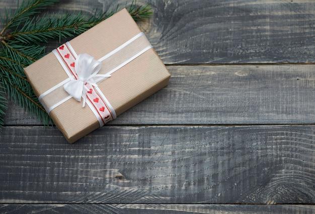 Natural christmas gifts on wood
