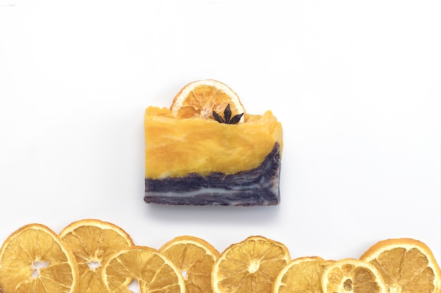 Natural citrus spa handmade soap on a white background