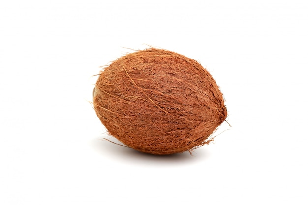 Natural coconut isolated in white. tropical fruit