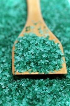 Natural coloured bath salt scattered