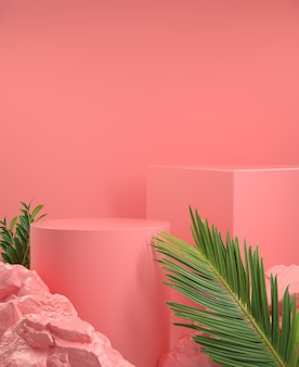Natural concept template display with palm leaf and rock on pink abstract background 3d render