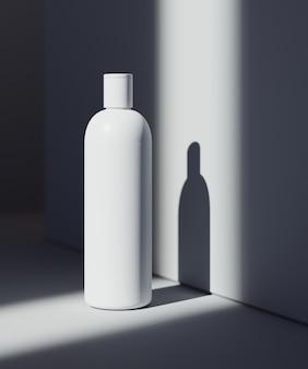 내츄럴 코스메틱 프레젠테이션 장면. 제품 배치. 어두운 그림자와 흰색 배경입니다. 3d 일러스트 블로그 콘텐츠