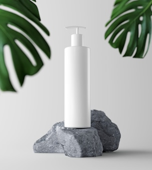Natural cosmetic product presentation backstage. ourdoors forest placement. white blank jar shampoo bottle. 3d illustration content