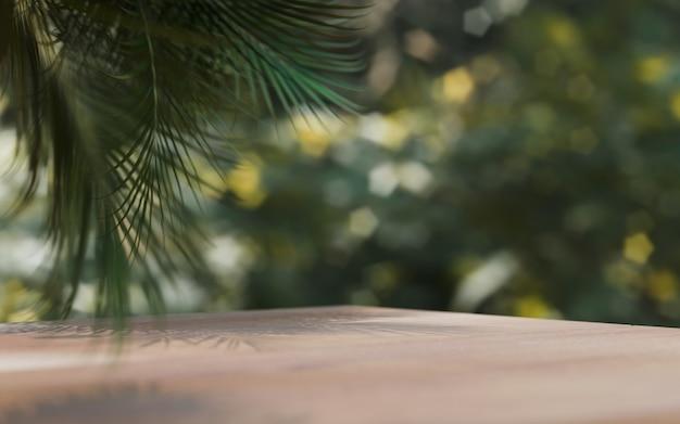 천연 화장품 제품 프레젠테이션 빈 장면. 야자수 잎이 있는 ourdoors 숲 배치. 3d 일러스트 콘텐츠