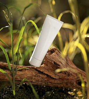 Natural cosmetic product presentation. ourdoors forest placement. white blank jar shampoo bottle. 3d illustration content