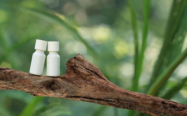 천연화장품 발표회. ourdoors 숲 배치. 흰색 빈 항아리 샴푸 병입니다. 3d 일러스트 콘텐츠