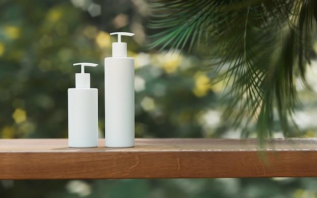 천연화장품 발표회. ourdoors 정원 배치. 흰색 빈 항아리 샴푸 병입니다. 3d 일러스트 콘텐츠입니다.