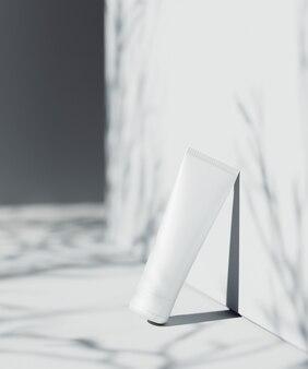 천연화장품 프레젠테이션 장면. ourdoor 배치. 흰색 빈 항아리. 3d 일러스트 콘텐츠