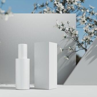 천연화장품 프레젠테이션 단계. 스튜디오 모형 배치. 흰색 빈 항아리 병입니다. 3d 일러스트 콘텐츠