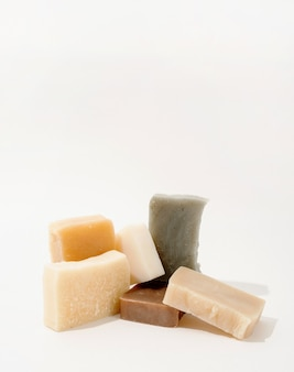 Natural cosmetics. handmade soap composition, stack of organic natural soap on white background