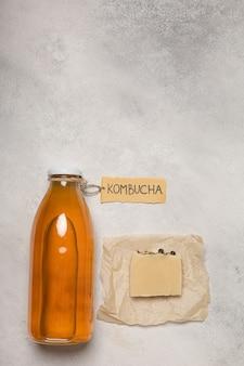 天然化粧品、昆布茶石鹸。ラベル「昆布茶」の碑文