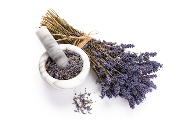 Natural cosmetics with lavender and orange, for homemade spa on white
