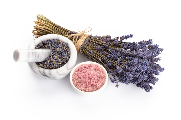 Natural cosmetics with lavender and orange, lemon  for homemade spa on white background top view mock up.