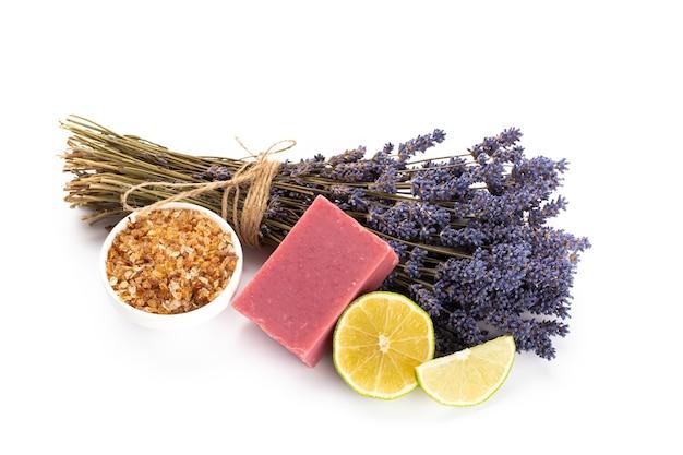 Natural cosmetics with lavender and orange, lemon