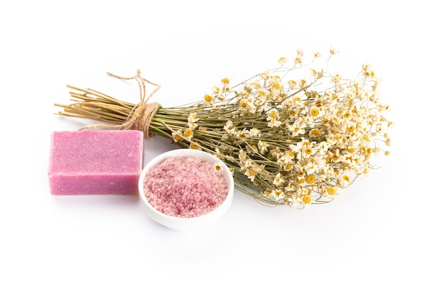 Natural cosmetics with lavender and pomegranate, for homemade spa top view mock up