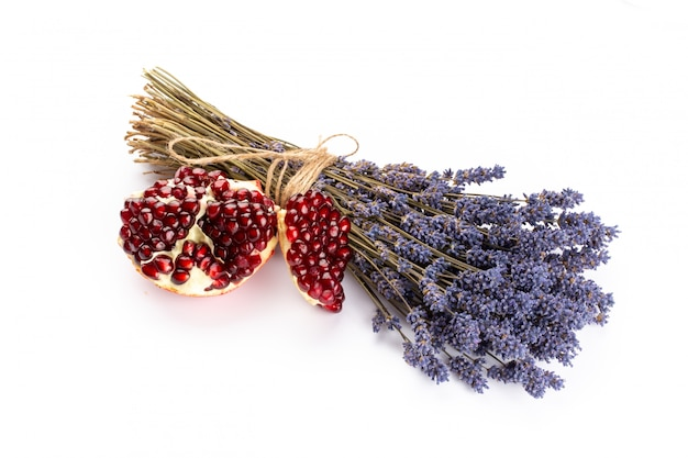 Natural cosmetics with lavender and pomegranate