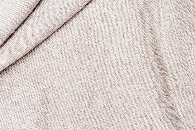 Natural cotton cloth texture close up of coarse fabric