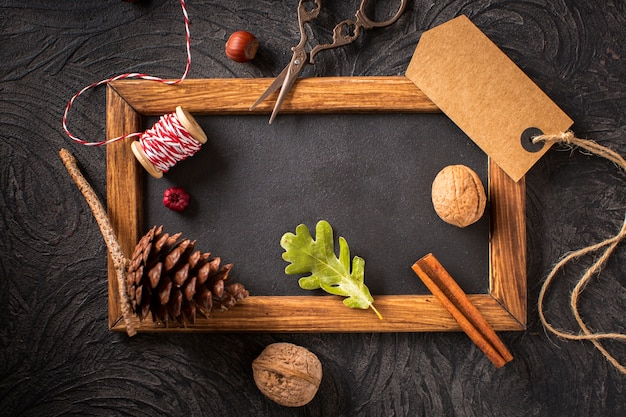 Natural decoration with wooden frame