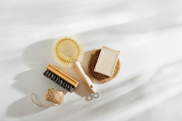 Natural dish brush and cleaning tools with soap. zero waste concept. plastic free. flat lay, top view