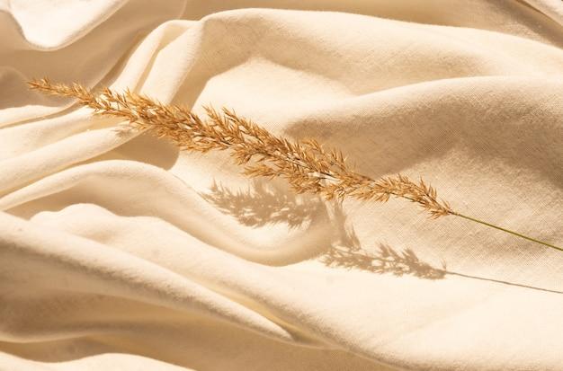 Натуральный сушеный цветок тростника с листьями на текстурированном белом льняном текстильном материале. текстильная квартира лежала фон с композицией из засушенных цветов и копией пространства. органический дизайн. пастельные тона.