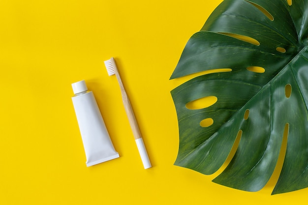 Natural eco-friendly bamboo brush, tube of toothpaste and tropical leaf monstera.