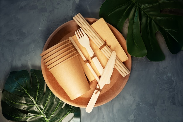 Natural eco-friendly bamboo and paper tableware. the concept of recycling, nature conservation and saving the earth.