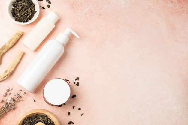 Natural eco-friendly cosmetics with green tea