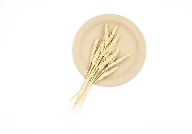 Натуральные эко-колоски пшеницы на бумажной эко-посуде на белом фоне изолировать
