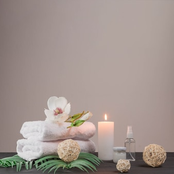 Natural elements for spa with candles