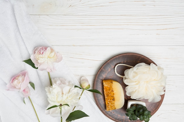 Natural elements for spa with soap