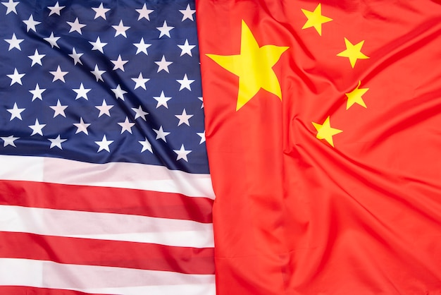 Natural fabric flag of the united states and flag of china, concept picture