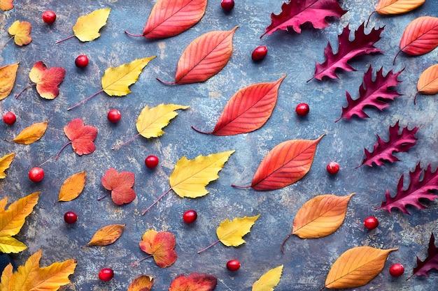 Естественный фон падения. абстрактный геометрический диагональный узор с различными осенними листьями красного, оранжевого и желтого цветов осени на темноте