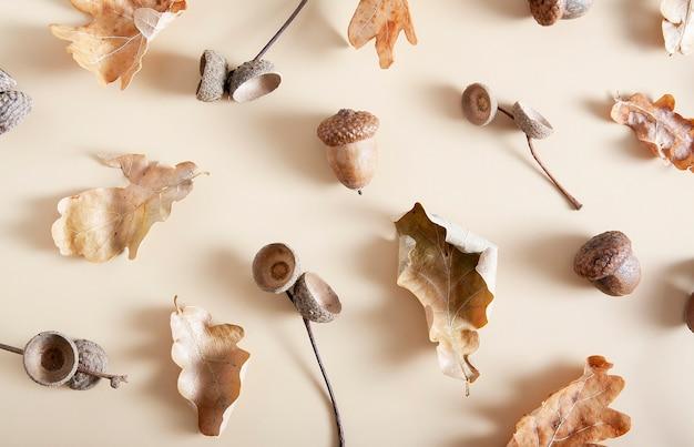 ベージュに分離された自然の落ち葉