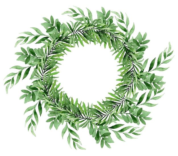 緑の熱帯の葉と自然なフレーム