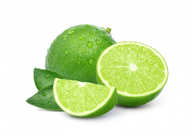 Natural fresh lime with sliced and water droplets isolated on white background