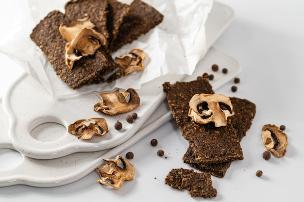 Natural gluten-free breads without flour and without sugar with mushrooms and seeds, dietary