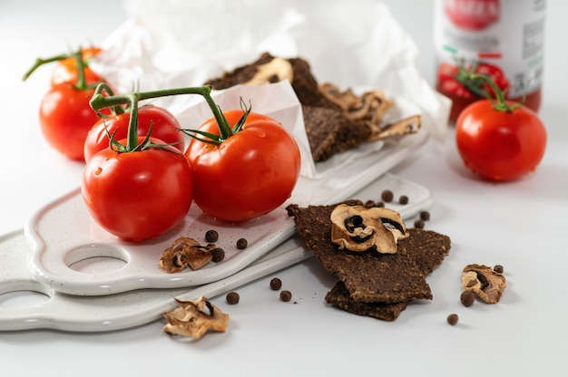 Natural gluten-free breads without flour and without sugar with mushrooms and tomatoes and tomato puree