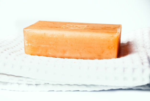 Natural handmade eco soap on the towel.