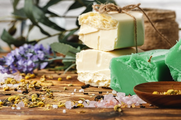 Natural handmade soap bars with flowers, close up
