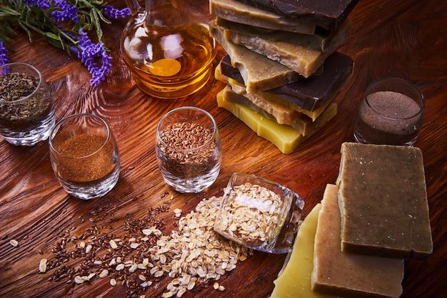 Natural handmade soap bars on wood